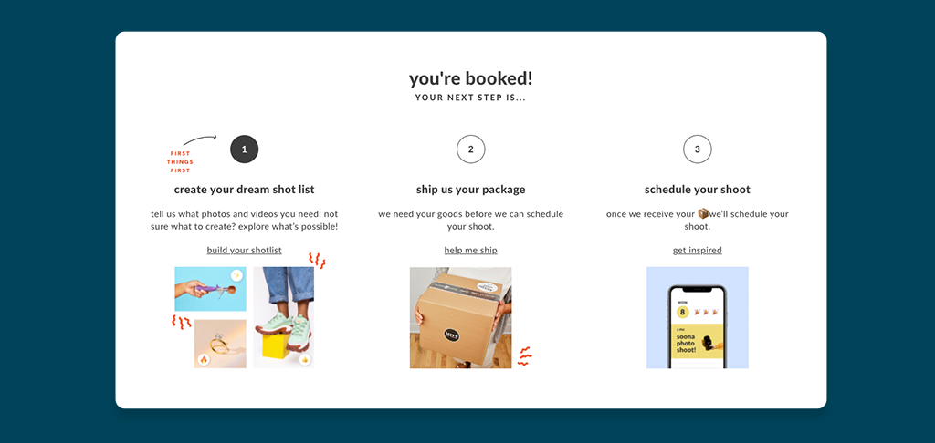 Soona booking, shipping product and scheduling process