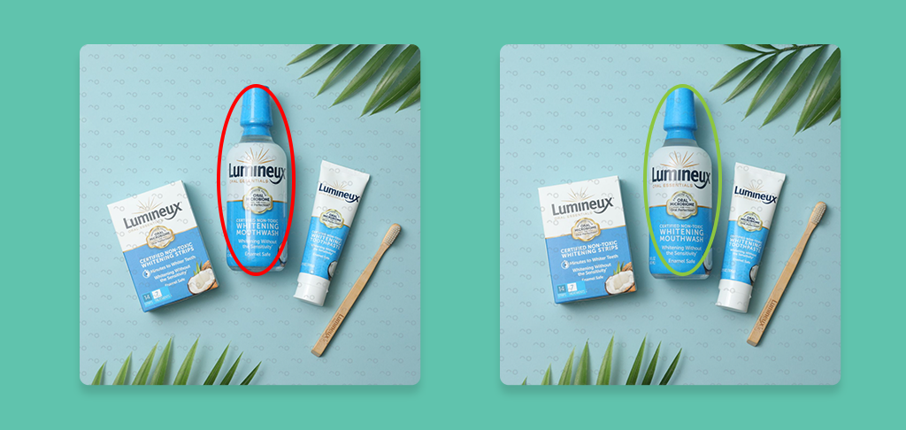Before and after comparison of product images
