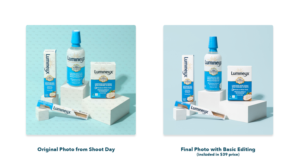 Side by side comparison of two teeth whitening product packages with photo editing