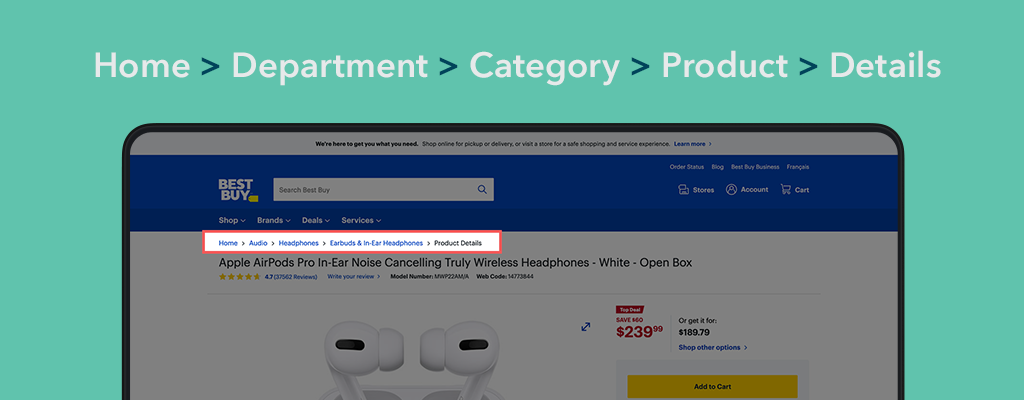 Example of breadcrumb trail on consumer technology website