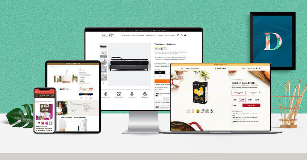Ecommerce product page examples on phone, tablet, laptop and desktop screens